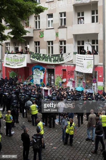 Protesters confront police during an eviction operation at the Friedel 54 shop in Neukoelln district on June 29 2017 in Berlin Germany The shop is a...