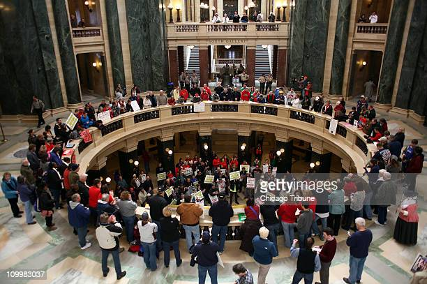 Protesters continue to rally in the Wisconsin State Capital in Madison Wisconsin Friday March 11 2011