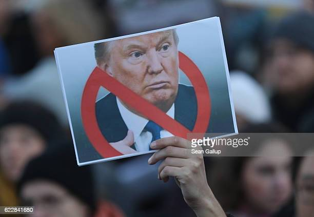 Protesters critical of the recent election of Donald Trump as U.S. President gather for a demonstration near the Brandenburg Gate on November 12,...