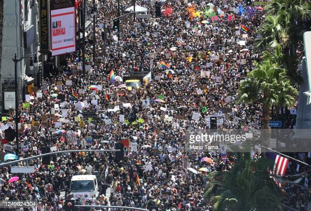 Protesters crowd Hollywood Boulevard during the All Black Lives Matter solidarity march as unrest continues in the wake of the death of George Floyd...