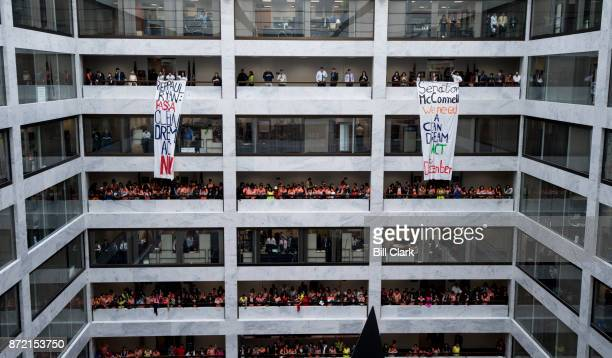 Protesters crowded the walkways chanting and hanging banners demanding a clean Dream Act in the Hart Senate Office Building on Thursday Nov 9 2017...