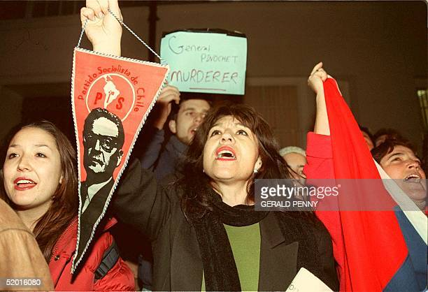 Protesters demonstrate 19 October at the entrance to The London Clinic hospital where former Chilean dictator Augusto Pinochet is believed to be...