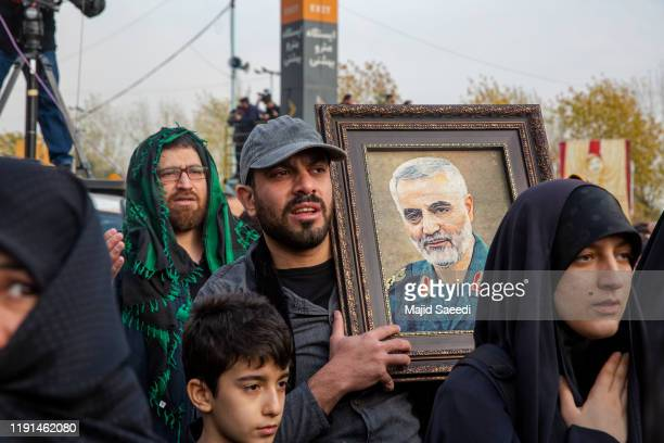 Protesters demonstrate after the US airstrike in Iraq that killed Iranian Revolutionary Guard Gen Qasem Soleimani on January 3 2020 in Tehran Iran...