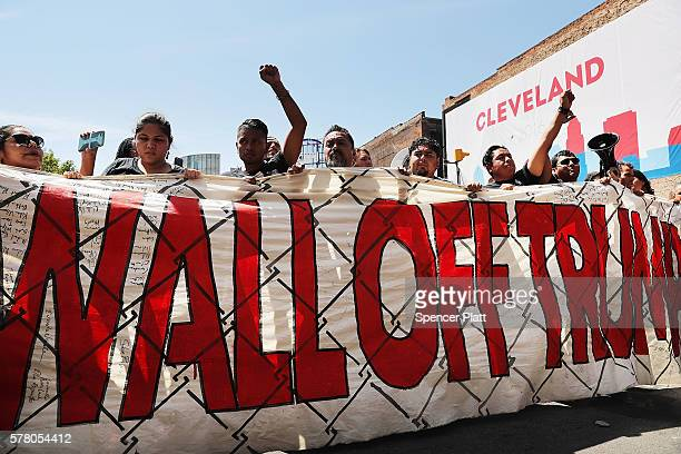 Protesters demonstrate against Donald Trump near the site of the Republican National Convention in downtown Cleveland on the third day of the...