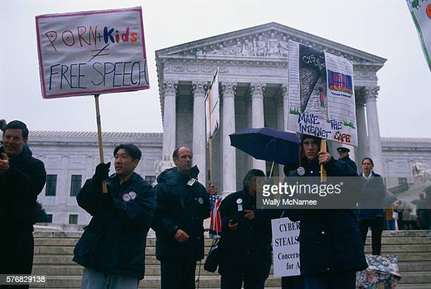 Protesters demonstrate against pornography on the internet in front of the Supreme Court