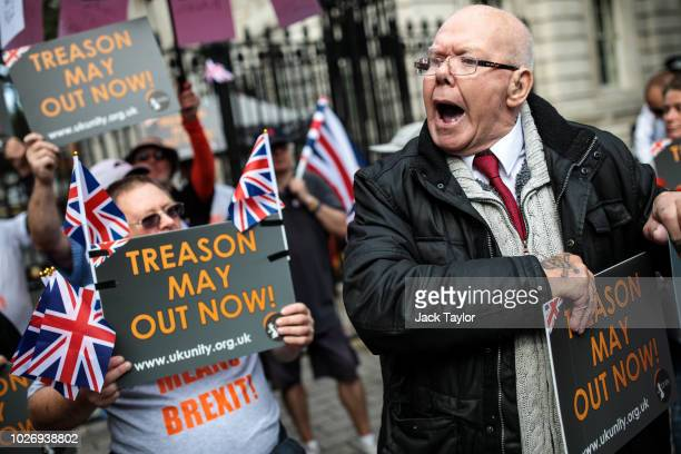 Protesters demonstrate against Prime Minister Theresa May's Chequers plan for Brexit outside the gates of Downing Street on September 5 2018 in...
