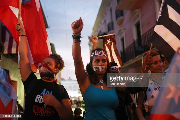 Protesters demonstrate against Ricardo Rossello the Governor of Puerto Rico on July 19 2019 in Old San Juan Puerto Rico There have been calls for the...