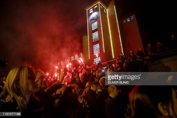 Protesters demonstrate against Serbian President outside the staterun TV headquarters on March 16 2019 in Belgrade Opponents of Serb President...