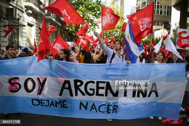 Protesters demonstrate against the decriminalisation of abortion outside the National Congress in Buenos Aires on April 10 2018 The Argentine House...