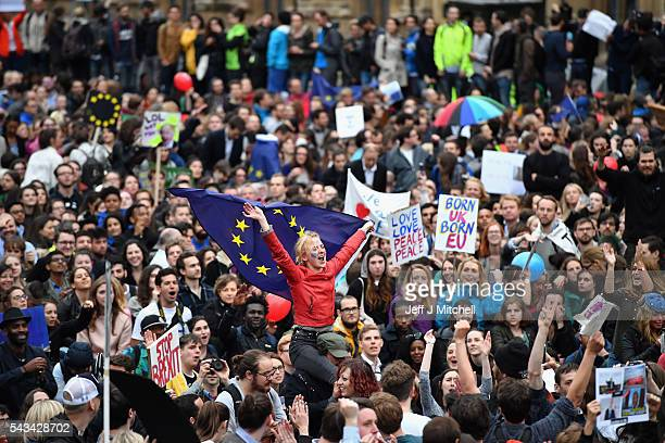 Protesters demonstrate against the EU referendum result outside the Houses of Parliament on June 28, 2016 in London, England. Up to 50,000 people...
