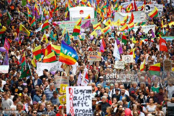 Protesters demonstrate against the G20 economic summit during a protest march on July 08 2017 in Hamburg Germany Hamburg is hosting the G20 summit...