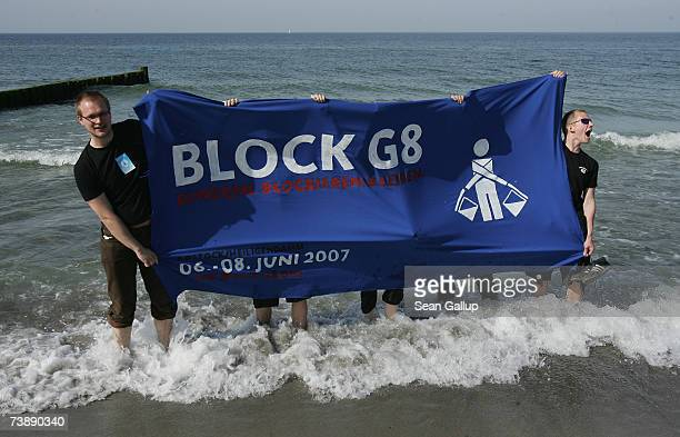 Protesters demonstrate against the G8 nations at the beach at the German resort town of Heiligendamm which will host the upcoming G8 summit April 15...