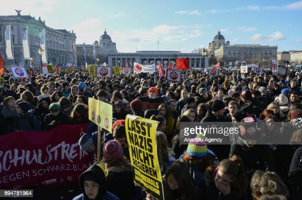 Protesters demonstrate against the new Austrian government during the swearingin day at Heldenplatz Vienna Austria on December 18 2017 The Austrian...