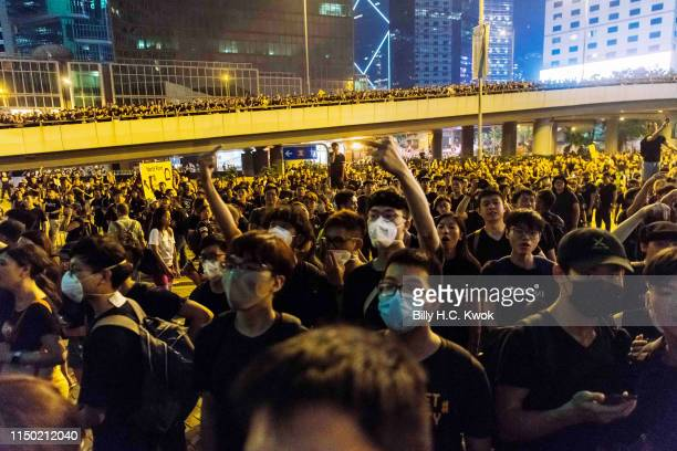 Protesters demonstrate against the nowsuspended extradition bill on June 16 2019 in Hong Kong China Large numbers of protesters rallied on Sunday...