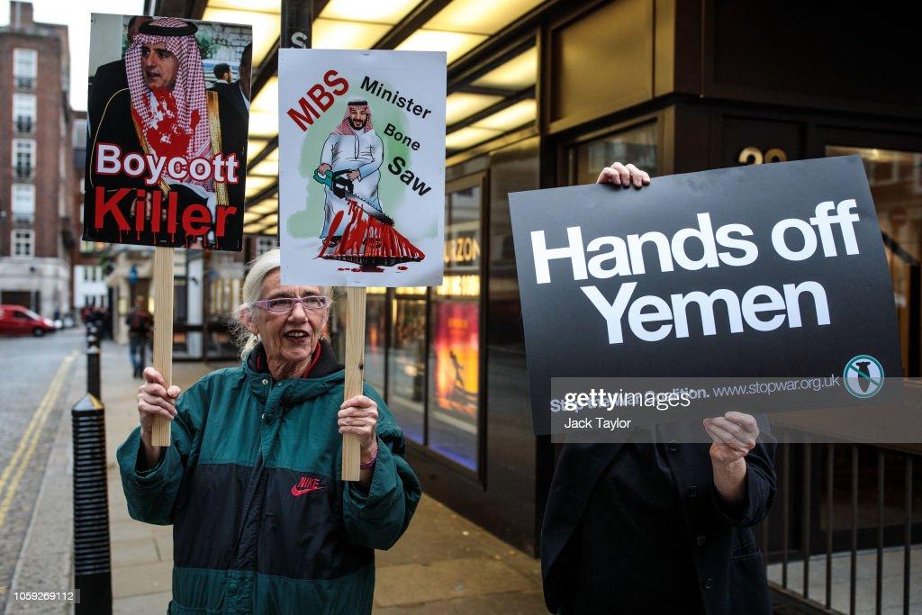 Protest at Saudi Embassy in London Over Khashoggi Death : News Photo