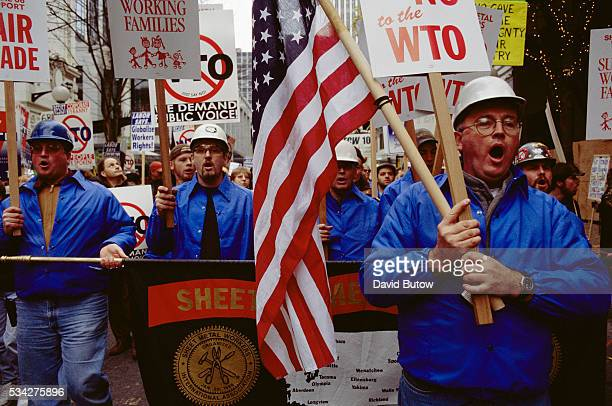 Protesters demonstrate against the World Trade Organization meetings in downtown Seattle Members of various labor groups and direct action...