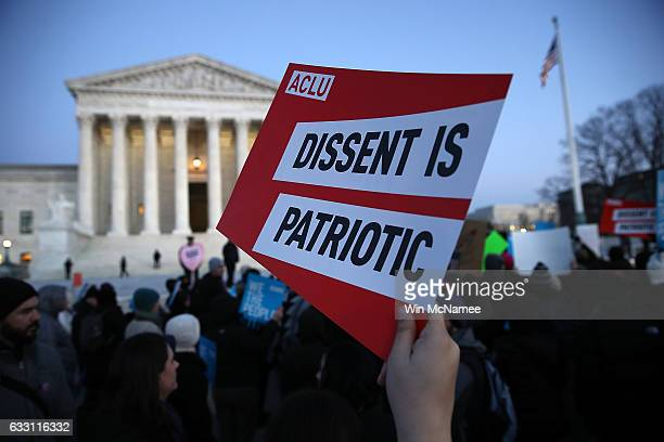 Protesters demonstrate against US President Donald Trump's recent executive order on immigration outside the US Supreme Court January 30 2017 in...
