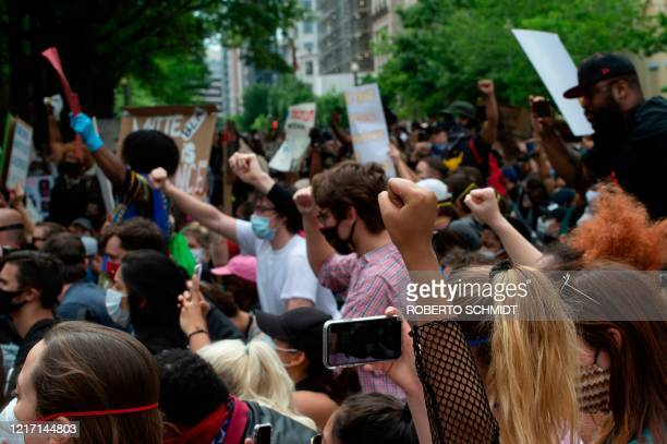Protesters demonstrate at Lafayette Square in front of the White House in Washington DC on June 2 2020 Protesters returned to the area after they...