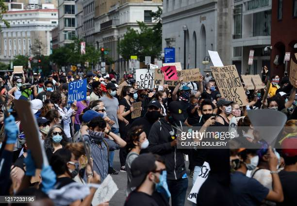 Protesters demonstrate at Lafayette Square in front of the White House in Washington DC on June 2 2020 Antiracism protests have put several US cities...