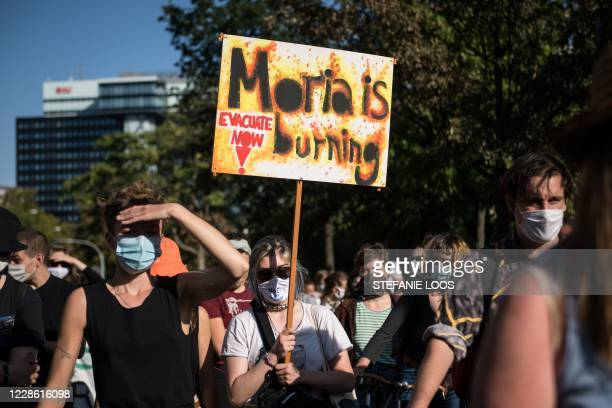 Protesters demonstrate for the evacuation of all migrant camps in Greece after the fire at the Moria refugee camp on Lesbos, on September 20, 2020 in...