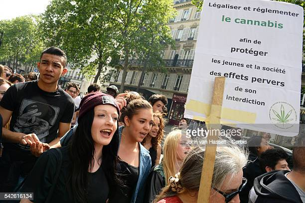Protesters demonstrate for the legalization of cannabis and medical marijuana which has been illegal in France since 1970 Marchers roll joints and...