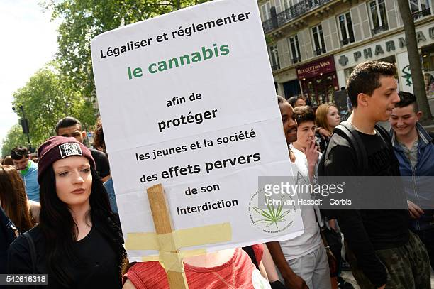 Protesters demonstrate for the legalization of cannabis and medical marijuana which has been illegal in France since 1970. Marchers roll joints and...