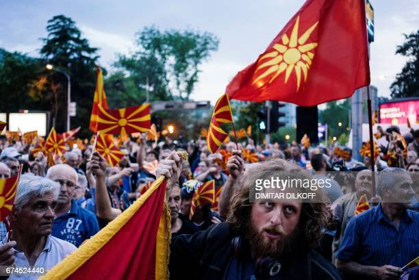 Protesters demonstrate in front of the local EU building in Skopje on April 28 a day after violence erupted after nationalist protesters stormed the...