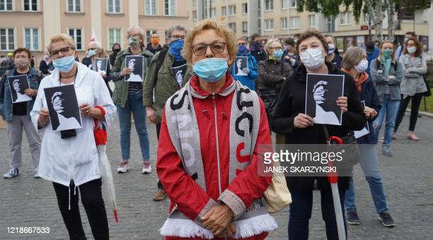 Protesters demonstrate in front of the Supreme Court in Warsaw, Poland on June 8, 2020 in support of Judge Igor Tuleya, an outspoken critic of the...