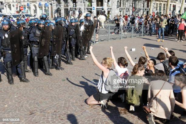 Protesters demonstrate in Lille as part of a multi branch day of protest called by French unions CGT and Solidaires against the French president's...