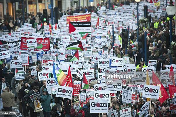 Protesters demonstrate in London on January 24 2009 against the BBC who have faced intense criticism from the British government and campaigners...