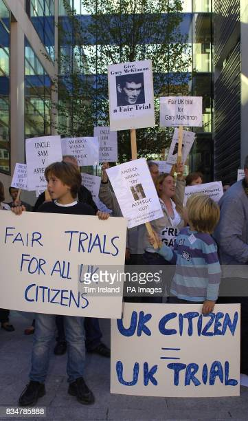 Protesters demonstrate in support of Gary McKinnon a British hacker facing extradition to the United States outside the Home Office in London