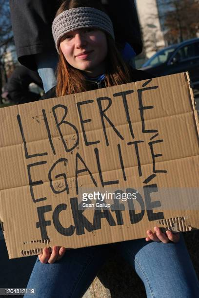 Protesters demonstrate outside the Chancellery where the government coalition commission was meeting inside on February 08 2020 in Berlin Germany The...