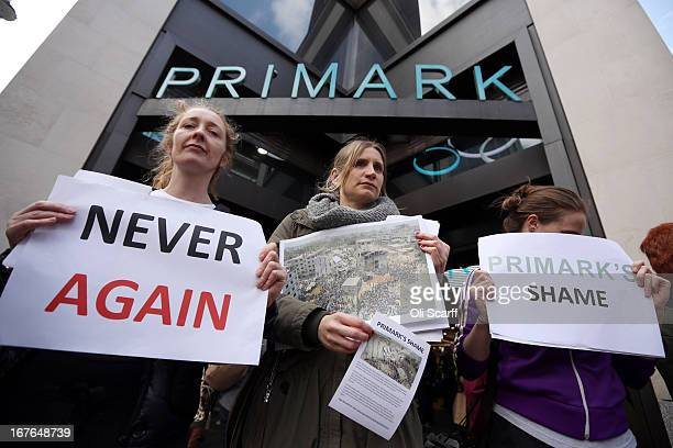 Protesters demonstrate outside the flagship Primark shop on Oxford Street on April 27 2013 in London England The campaigners are calling for...