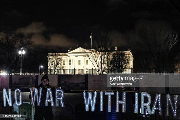 Protesters demonstrate outside the White House on January 7, 2020 in Washington, DC. Iran fired at least a dozen missiles at two U.S. Bases in Iraq...