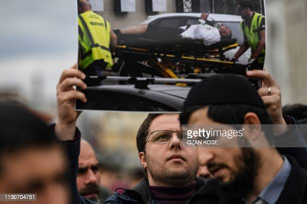 Protesters demonstrate to denounce New Zealand mosque attacks in Chirstchurch on March 15 2019 at Fatih mosque in Istanbul after a symbolic funeral...