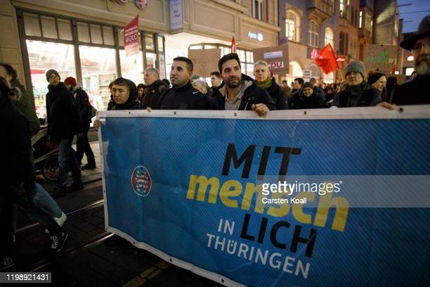 Protesters demonstrating against the rightwing Alternative for Germany political party bedause yesterdays election of the new Thuringia governor on...