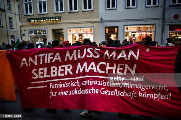 Protesters demonstrating against the right-wing Alternative for Germany political party bedause yesterdays election of the new Thuringia governor on...