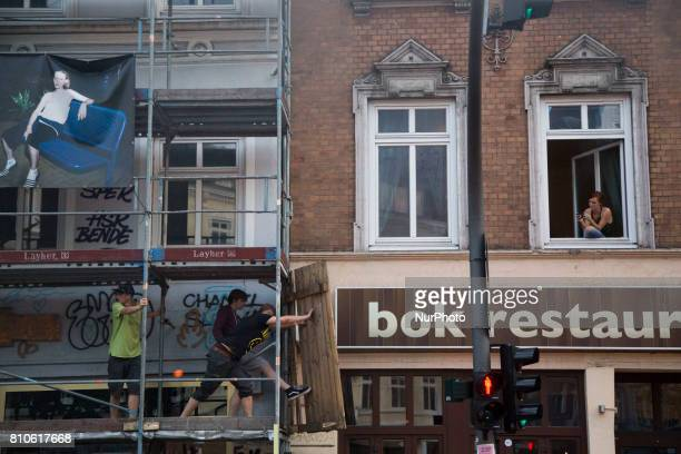 Protesters destroy scafollding during riots in St Pauli district during G 20 summit in Hamburg on July 8 2017 Authorities are braced for largescale...