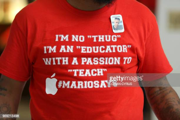A protesters displays a slogan on his tshirt as teachers from across the state of North Carolina march and protest in Raleigh the state capital on...