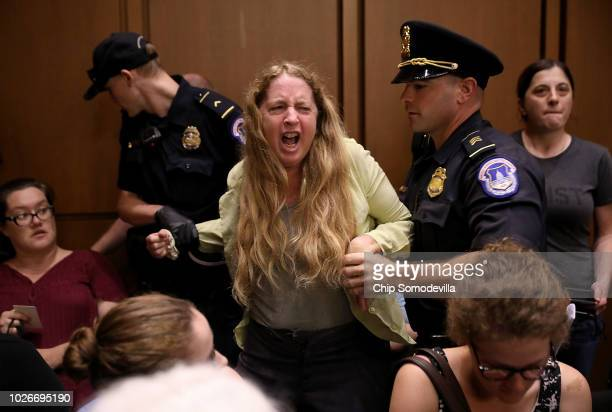 Protesters disrupt the confirmation hearing for Supreme Court nominee Judge Brett Kavanaugh before the Senate Judiciary Committee in the Hart Senate...