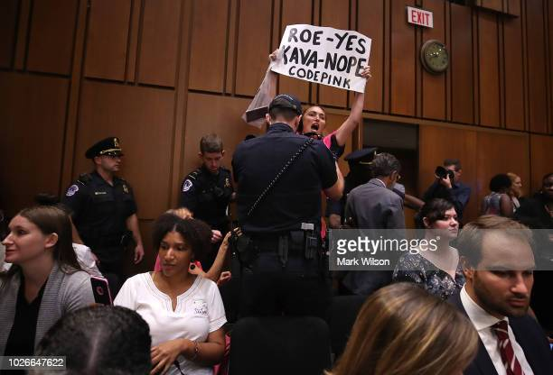 Protesters disrupt the start of the Supreme Court nominee Judge Brett Kavanaugh's confirmation hearing before the Senate Judiciary Committee in the...