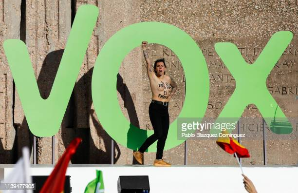 Protesters disrupt the VOX closing rally on April 26, 2019 in Madrid, Spain. Spaniards go to the polls to elect 350 members of the parliament and 208...