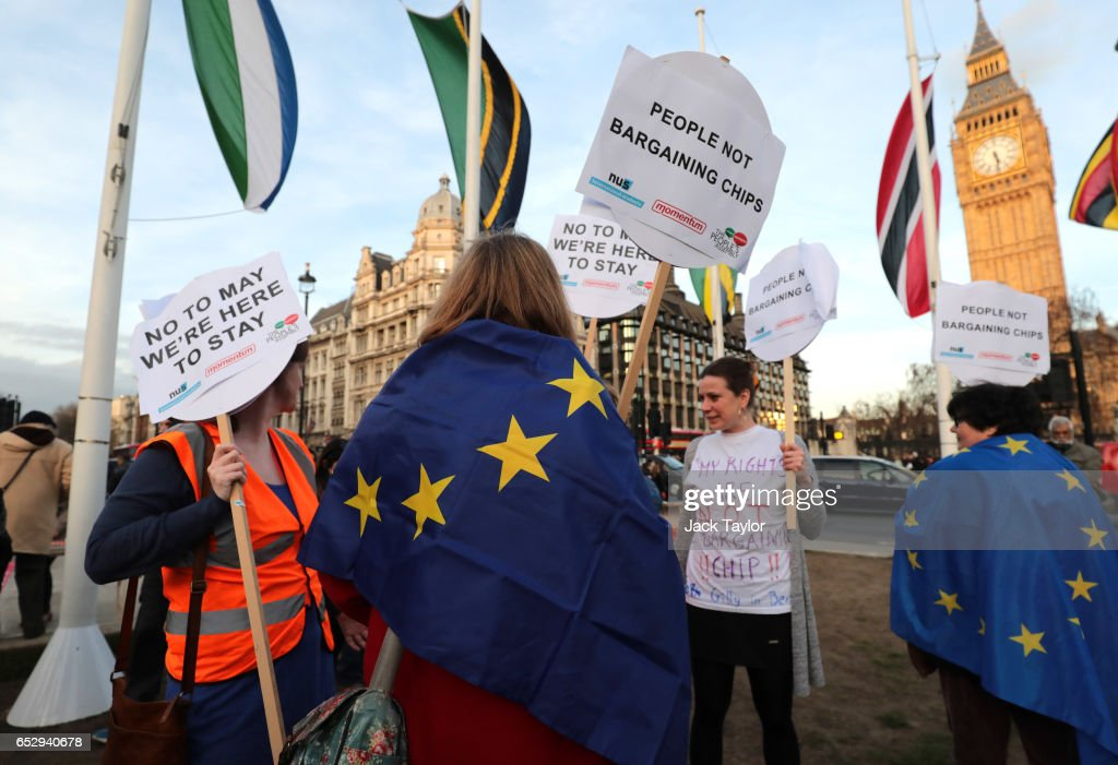 Demonstrators Gather in Parliament Square To Support Guaranteed Legal Status For EU Citizens : News Photo