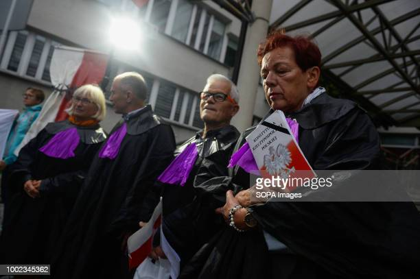 Protesters dressed as supreme court judges take part in the protest People demonstrate against reforms of the Supreme Court and demand for free...