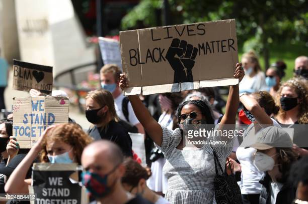 Protesters during a Black Lives Matter rally through central London United Kingdom on July 5 2020