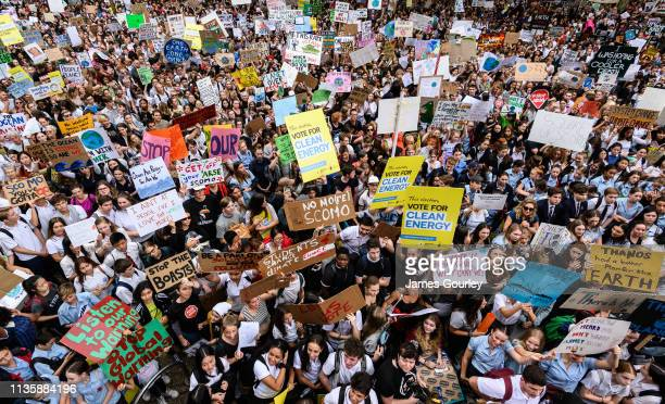 Protesters during a Climate Change Awareness March on March 15, 2019 outside Sydney Town Hall, Australia. The protests are part of a global climate...
