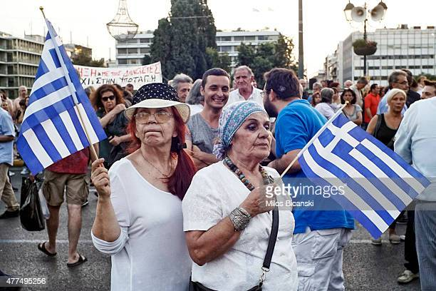 Protesters during a progovernment rally calling on Greece's European and International Monetary creditors to soften their stance in the...