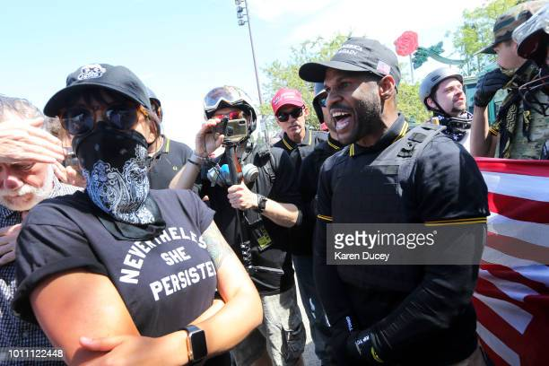 Protesters during a rally for gun rights' laws and free speech at Tom McCall Waterfront Park on August 4 2018 in Portland Oregon The rally was...