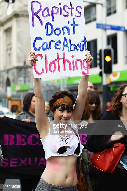Protesters during a Slutwalk march for the right of women to wear what they want without harassment on June 25 2011 in Auckland New Zealand The...
