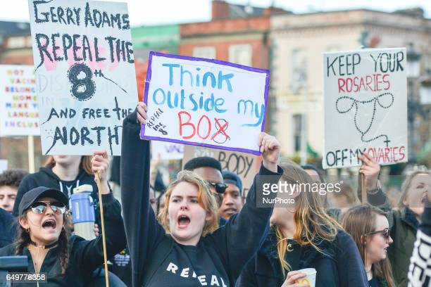 Protesters during a Strike 4 Repeal campaign march held today in Dublin city center to seek a referendum on repealing the eighth amendment The...